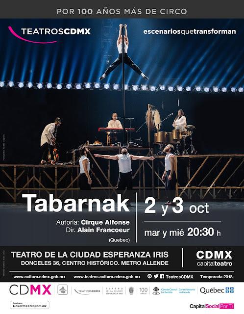 """Cirque Alfonse de Canadá presenta """"Tabarnak"""" en el Teatro de la Ciudad Esperanza Iris"""
