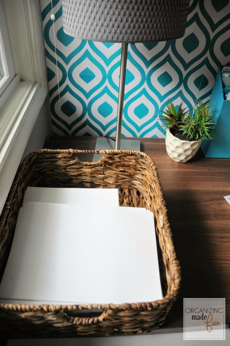 Printer paper in a basket in the home office :: OrganizingMadeFun.com