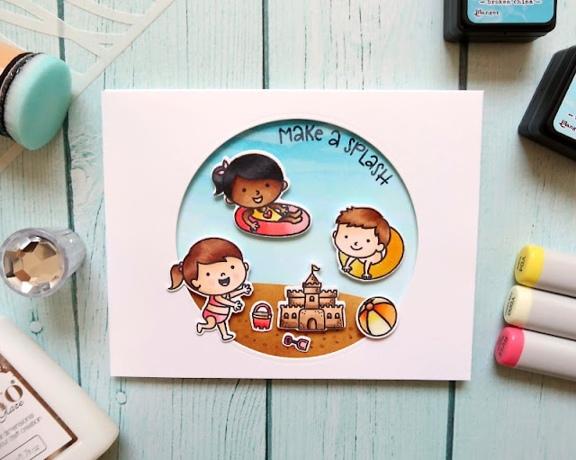 Sunny Studio Stamps: Beach Babies Customer Card by Laura Sterckx