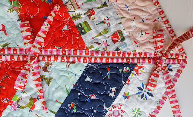Holly Jolly Tree Skirt Ties Detail using Way Up North Fabric Riley Blake