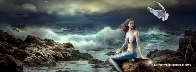 Beautiful Mermaid Sea Foam Facebook Covers - Weheartcovers.com