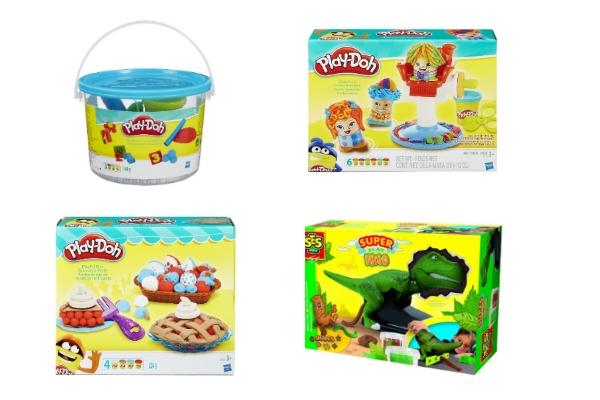 prezenty dla przedszkolaków - zostawy ciastoliny, dinozaur, fryzjer