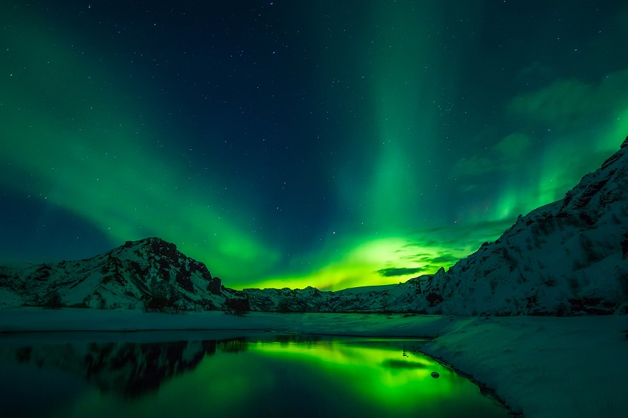Northern Lights, Iceland - A Wonderful Colorful Night Event of Nature