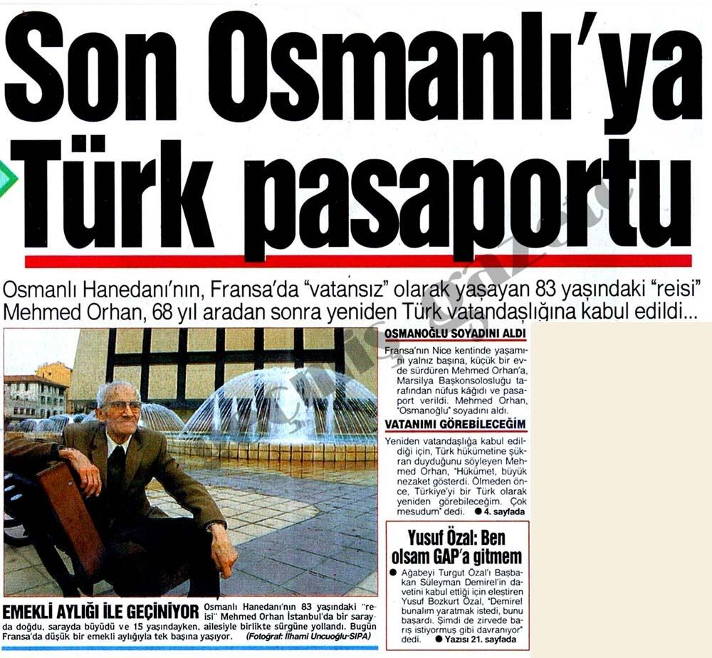 Osmanlı Devleti: Mehmed Orhan Osmanoğlu