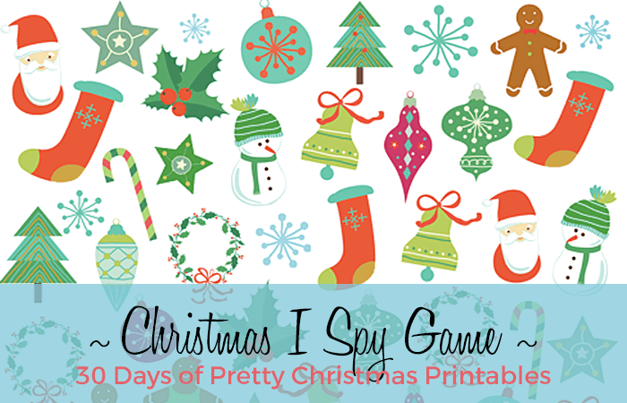 A classic Christmas I Spy Game printable from Live Laugh Rowe. Hosted by Grade Onederful  Designs 30 Days of Pretty Christmas Printables