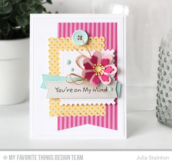 On My Mind Card by Julia Stainton featuring the Pure Innocence I Heart You stamp set and the Prima Donna Petals, Stitched Pinking Edge Square STAX, Blueprints 3, and Blueprints 13 Die-namics #mftstamps