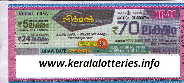 Nirmal (NR-41) lottery result on October 27, 2017