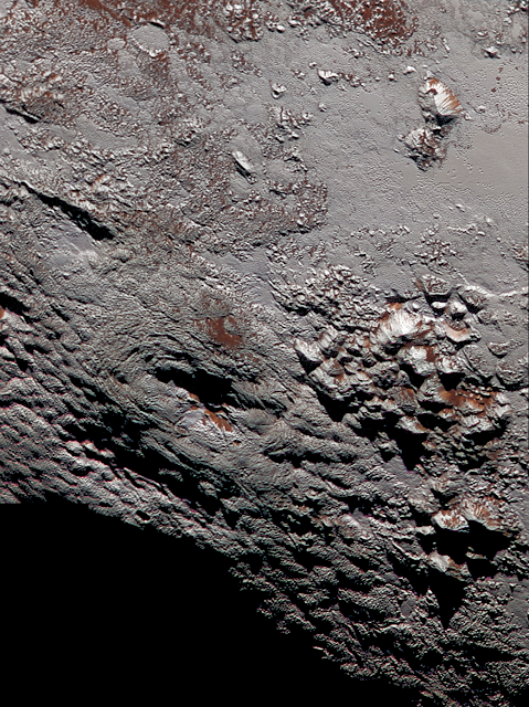 NASA image: Pluto's Wright Mons in colour