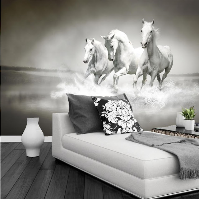 Horse wall murals Wallpaper white horses galloping run photo wallpaper living room bedroom 3d girls room water