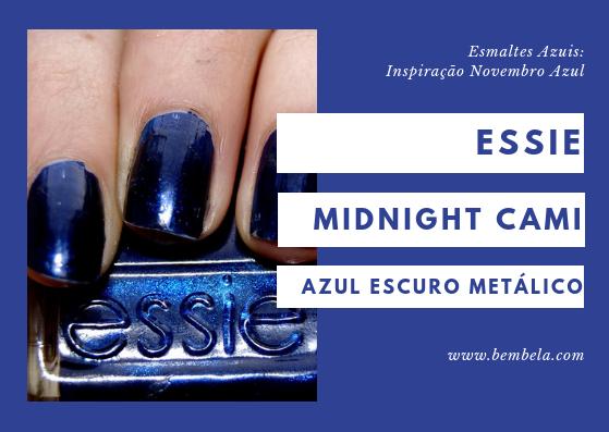Essie: Midnight Cami  Tente este se quiser um substituto glamouroso para os escuros e pretos usados normalmente. Midnight Cami é uma cor azul escura cheia de brilho.