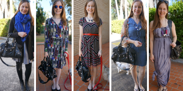 5 ways to wear Balenciaga part time bag with dresses | awayfromtheblue