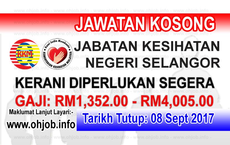 Jawatan Kerja Kosong Jabatan Kesihatan Negeri Selangor logo www.ohjob.info september 2017
