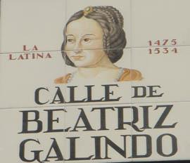 Calle dedicada a Beatriz Galindo en Madrid
