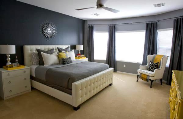 habitación en blanco amarillo y gris