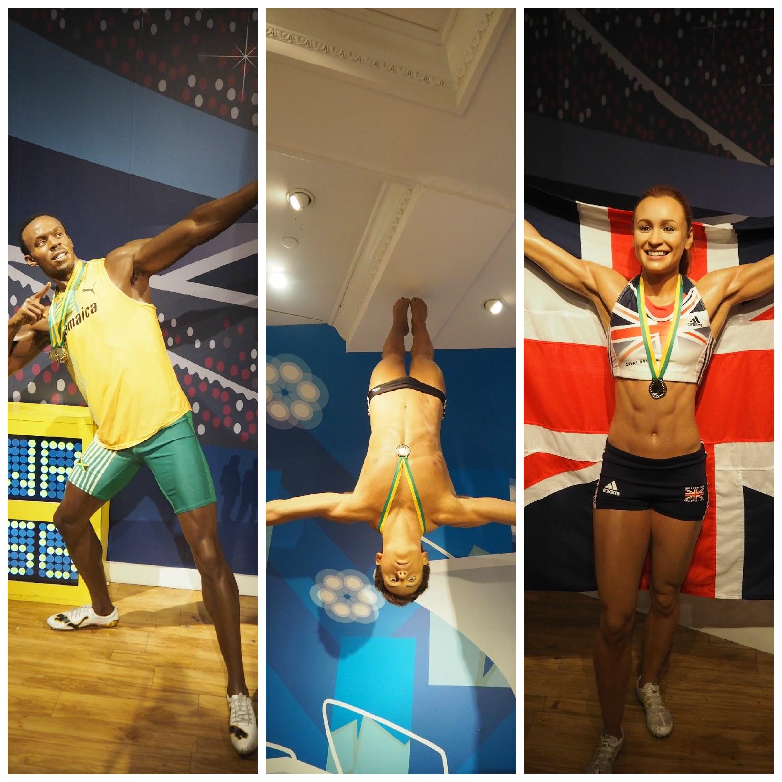 Usain Bolt, Tom Daley and Jessica Ennis, Madam Tussauds, London
