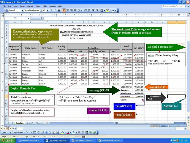 Create Simple Payroll Using MS-Excel 2007 Combinebasic Computer