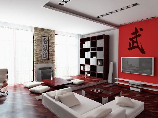 ديكور غرفة جلوس يابانية