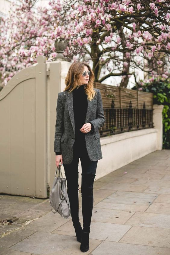 Turtle Neck Sweater Grey Blazer