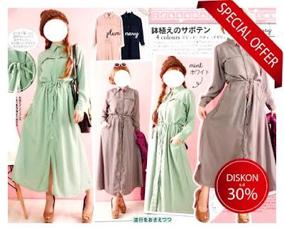 maxi dress flare gamis umbrella casual elegan baju impor Korea murah