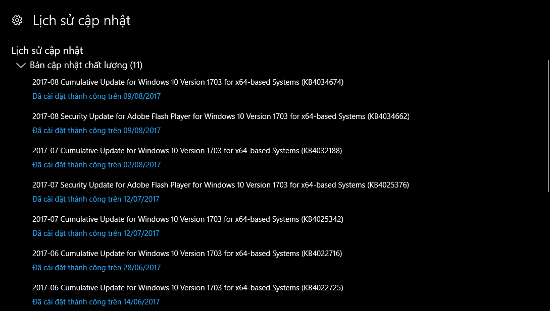 Cập nhật 8 tháng 8, 2017 - KB4034674 cho Windows 10 Phiên bản 1703 (OS Build 15063.540)