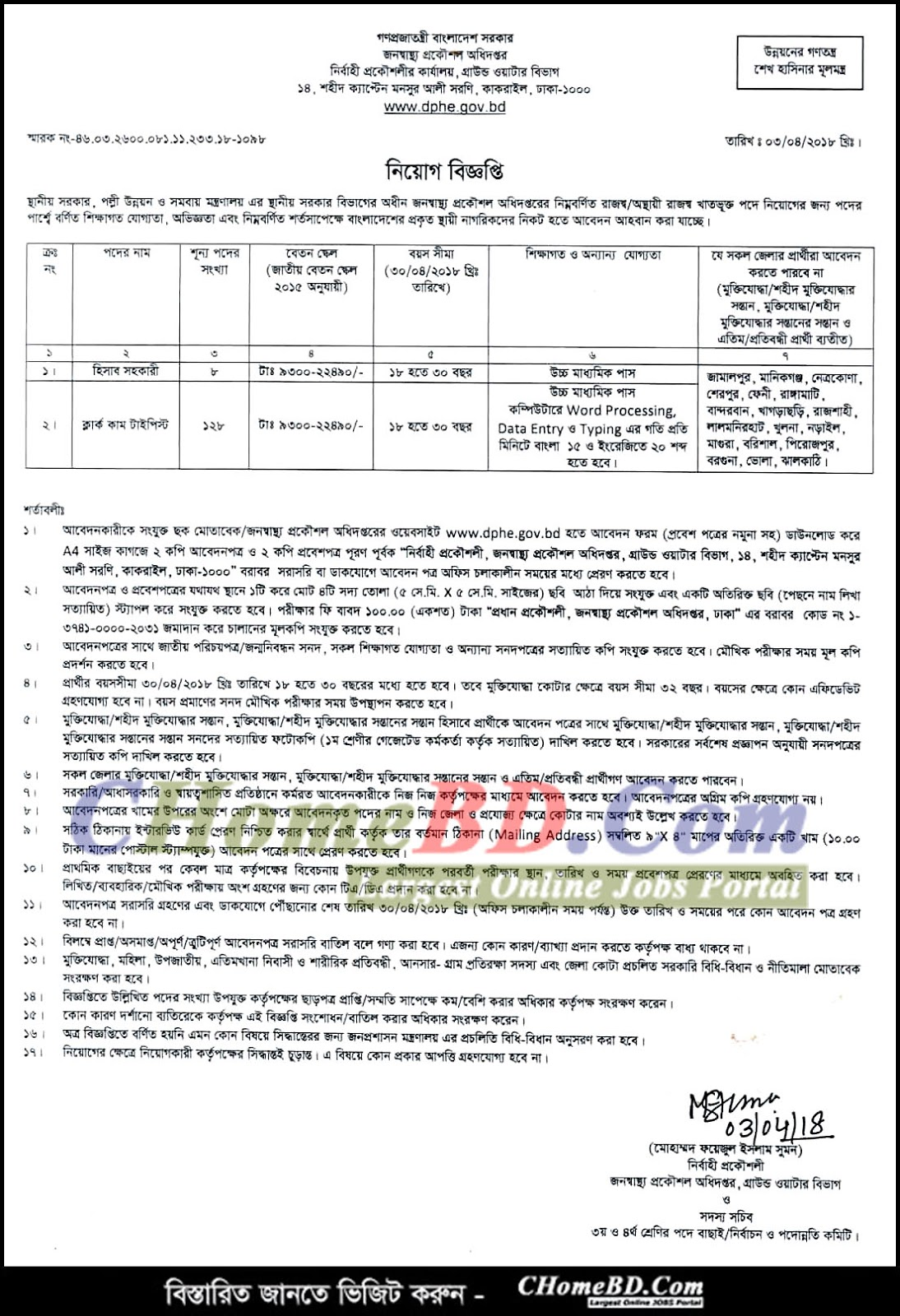 Department of Public Health Engineering (DPHE) Job Circular 2018