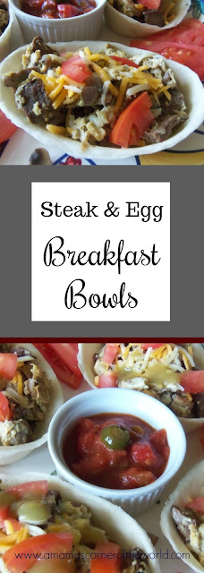 Pinnable Image for the Steak & Egg Breakfast Bowls recipe on A Mama's Corner of the World