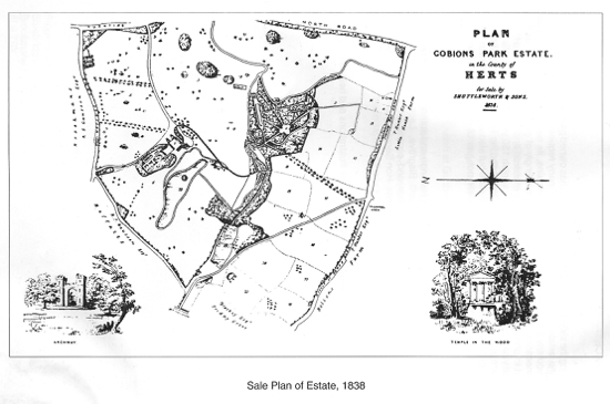 Scanned image of a drawing of the sale plan for Gobions Estate, 1838 courtesy of Hals
