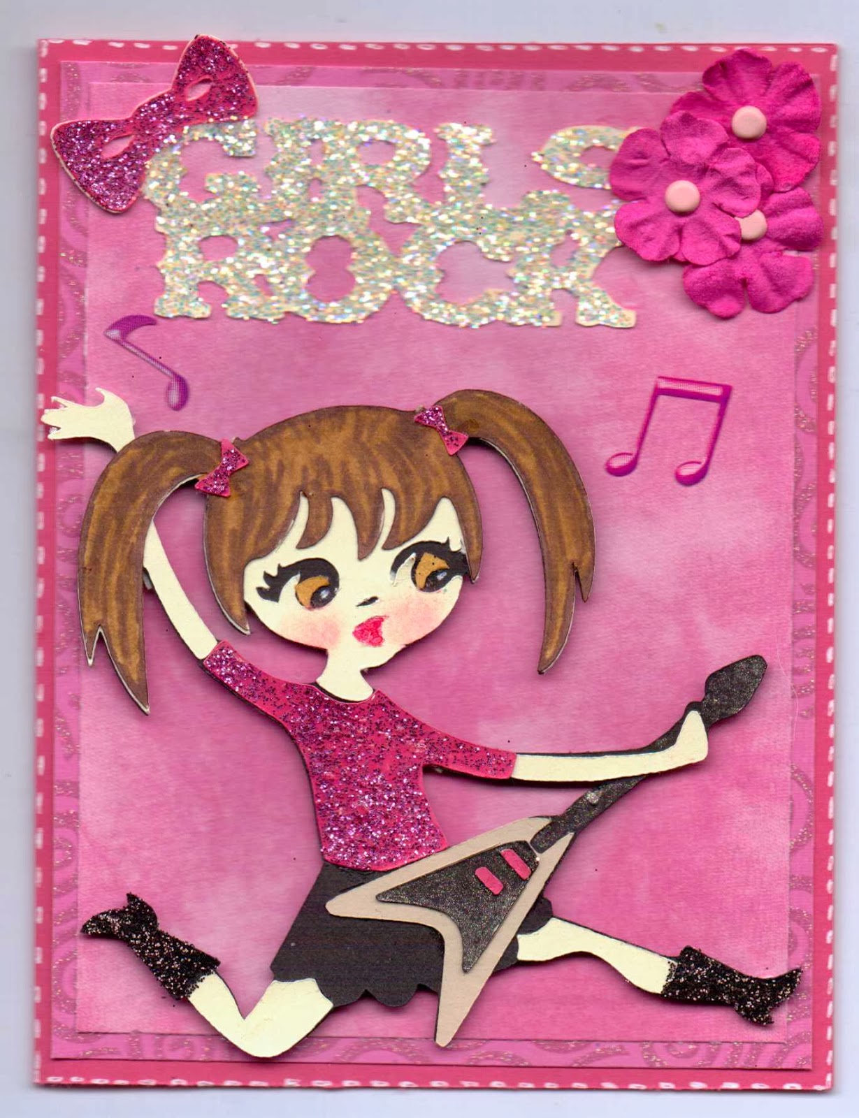 paper crafts with the pink armadillo girls rock birthday card