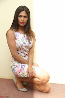 Nishi Ganda stunning cute in Flower Print short dress at Tick Tack Movie Press Meet March 2017 103.JPG
