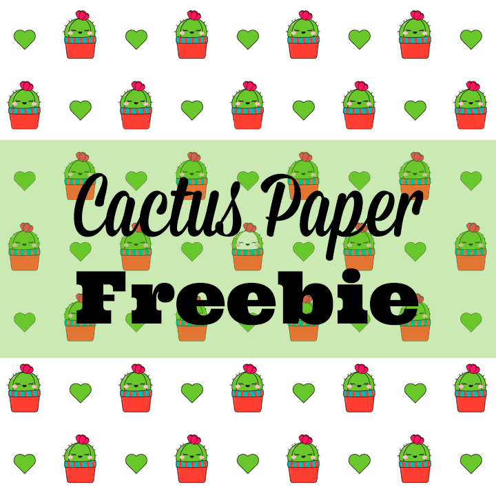 Kawaii Cactus Digital Paper Freebie