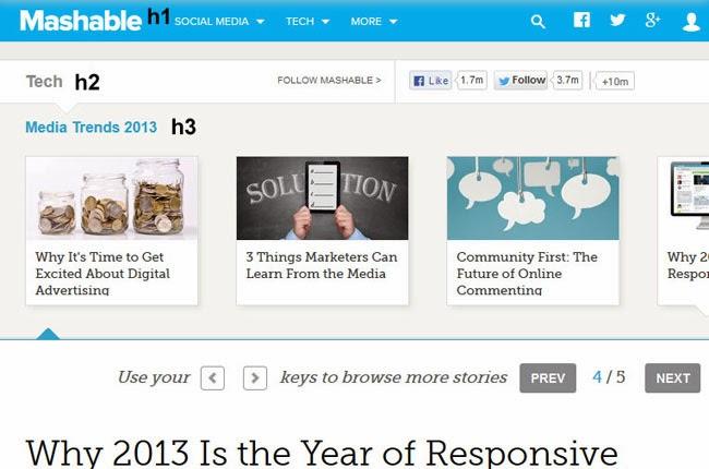 Parte superior de la página Mashable. El logo es H1, la categoría en H2, el título de la primera zona de contenido es H3