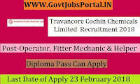Travancore Cochin Chemicals Limited Recruitment 2018– 39 Operator, Fitter Mechanic & Helper