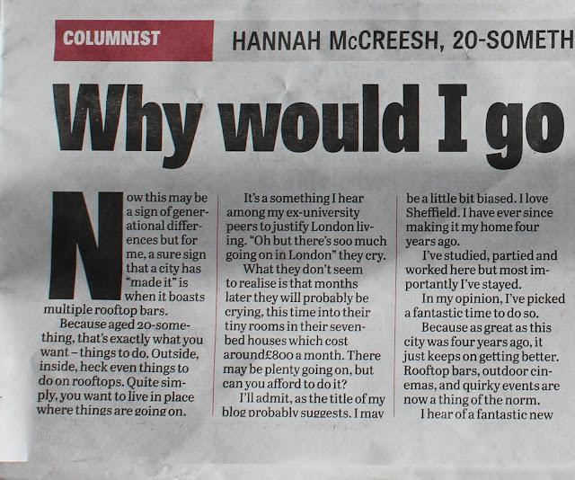 Hannah McCreesh Sheffield Star column