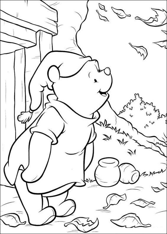 Tranh cho bé tô màu gấu Pooh 37