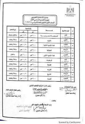 جداول امتحانات الفصل الدراسى الاول بمحافظة الاقصر 2019 الترم الاول