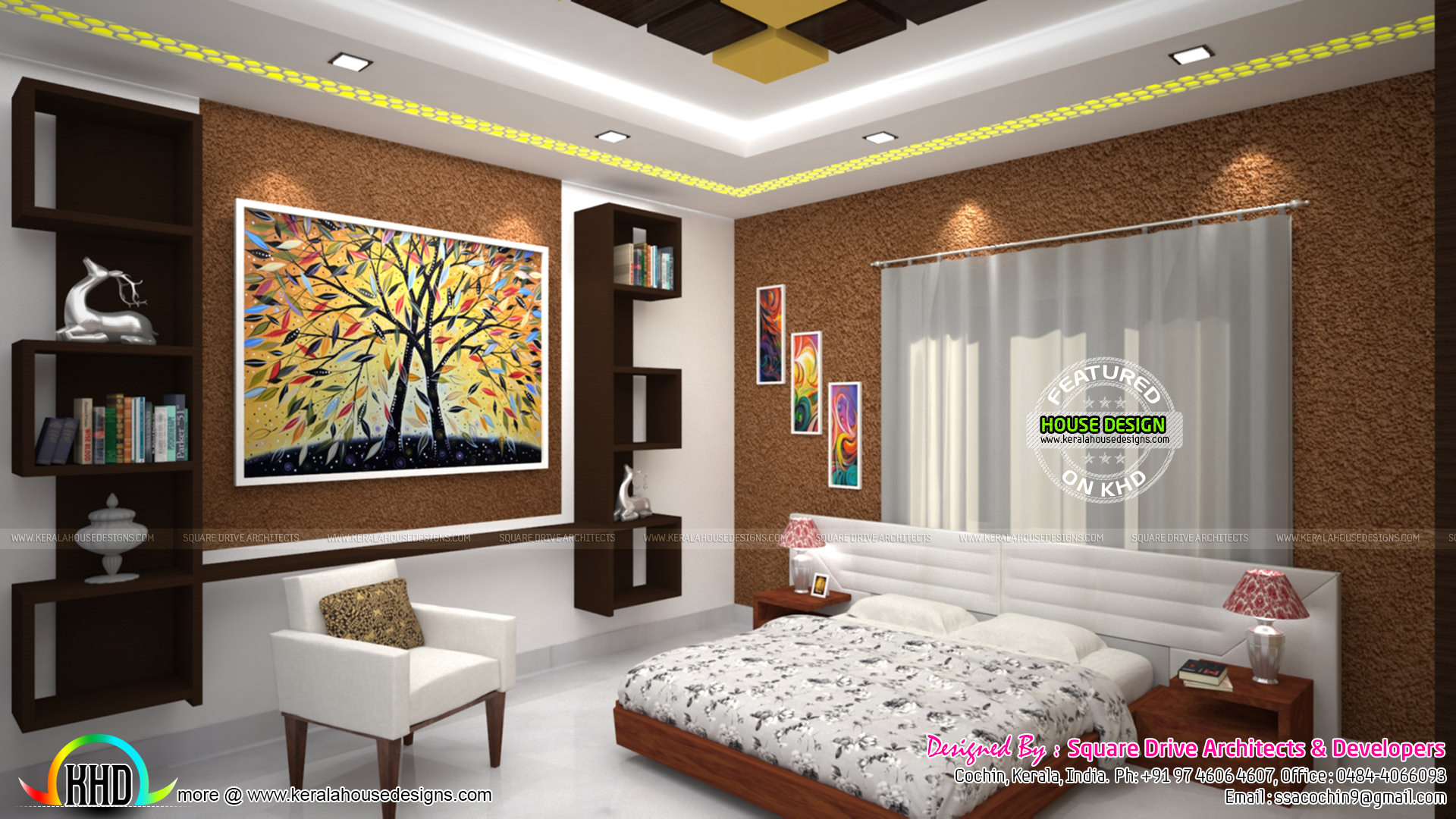 Master bedroom living and wardrobe designs kerala home for Bedroom designs tamilnadu