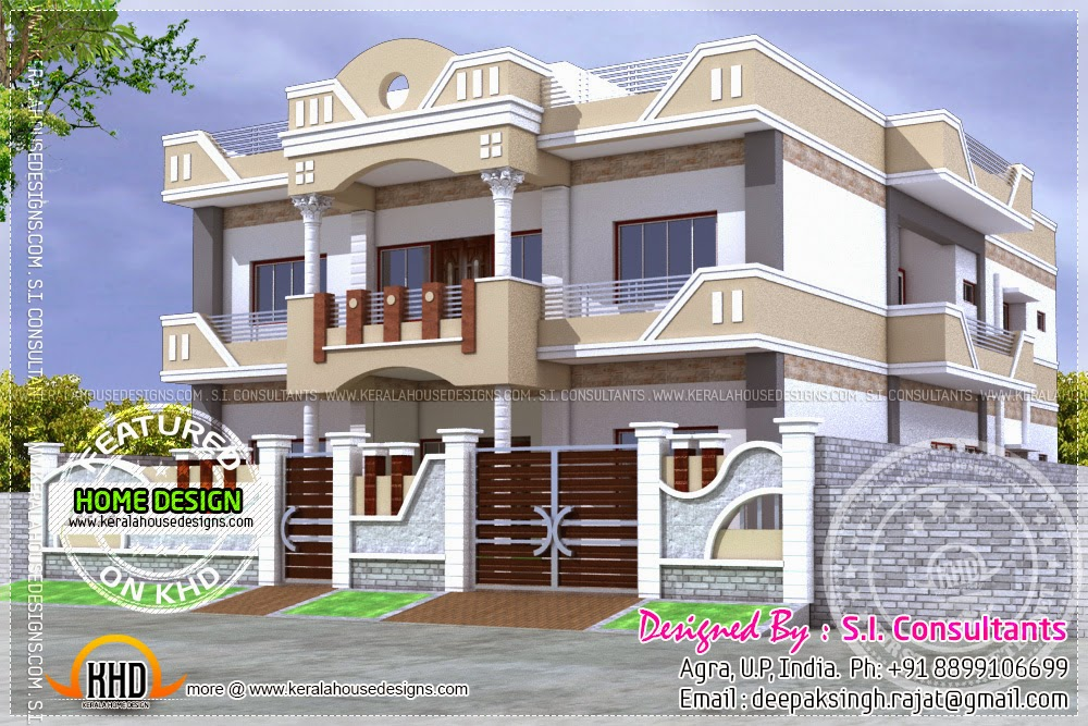 March 2014 kerala home design and floor plans for Single floor house elevations indian style