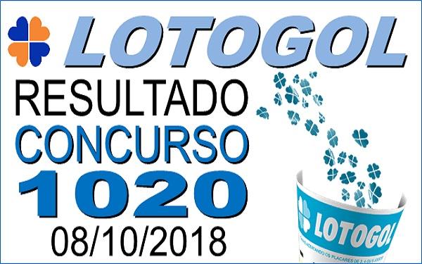 Resultado da Lotogol concurso 1020 de 08/10/2018 (Imagem: Informe Notícias)