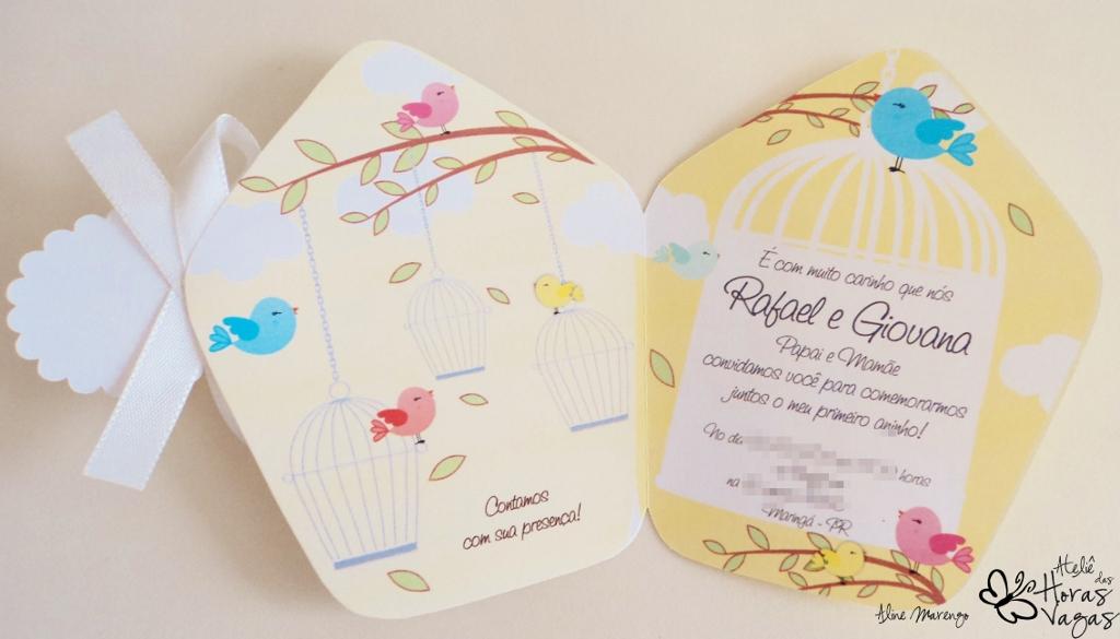 convite artesanal casinha de passarinho amarelo 1 aninho