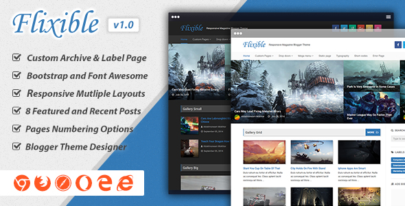 Flixible Magazine Responsive Blogger Theme Preview