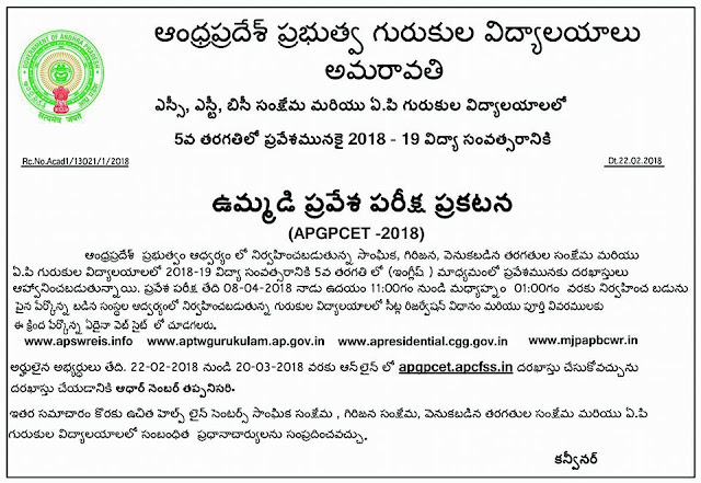 AP Gurukula Patasala Common Entrance Test 2018 Notification Online Application form @apgpcet.apcfss.in APGPCET 2018 5th Class Entrance Test / APSWREIS,APTWREIS,MJPAPBCWREIS Admission Notification, Apply Online, Results and Merit List| APGPCET 2018 5th Class Entrance Test/APSWREIS,APTWREIS,MJPAPBCWREIS Admissions| APGPCET 2018 | sanghika Samkshema patashala Common Entrance Test 2018 | Fifth Class Common Entrance Test 2018 | AP Social Welfare Schools Common Entrance Test 2018 | Admission Test for fifth class in APSWREIS,APTWREIS,MJPAPBCWREIS Residential Schools | AP FIFCAT 2018 | AP MJPAPBCWREIS Admission Test 2018 | MJPAPBCWREIS Entrance Test 2018 | APSWREIS Admission Test | APTWREIS Admission Test | AP Fifth Class Admission Test| AP fifth Class Entrance Test 2018 | AP Residential Schools 5th class Commom mEntrance test for SC,St,BC Students| AP Residential Admission Test for 5th Class admission into SC, ST, BC Gurukulas| 5th class Commom Entrance Test for APSWREIS,APTWREIS,MJPAPBCWREIS Residential Schools| andhra-pradesh-gurukula-patasala-apgpcet-2017-5th-class-entrance-test-apswreis-aptwreis-mjpapbcwreis-admissions-fifcat-notification-online-application-halltickets-list-of-schools-results APGPCET 2018 Notification is out which is mean to 5th Class Admission Entrance Test Notification A.P Gurukula Patasala Common Entrance Test 2018 Notification for Admission into V Class Online Applications are invited through official website http://ww.apgpcet.apcfss.in to get admission into Gurukula Patasala vizz All AP Social Welfare Tribal Welfare Residential MJP AP Bach ward Classes welfare Residential Educational Institutions Society Andhra Pradesh. Eligibility criteria Online Application Schedule Fee details Exam Dates How to Apply Online Selection Procedure Reservation particulars are available in detailed Notification here under you may Download for refference andhra-pradesh-ap-gurukula-patasala-common-entrance-test-apgpcet-5th-class-admission-common-entrance-test-apswreis-aptwreis-mjpapbcwreis-admissions-fifcat-notification-exam-dates-application-form-submission-online-hall-tickets-results-selection-list-download-apgpcet-apcfss AP Gurukula Patasala Common Entrance Test 2018/2018/02/ap-gurukulandhra-pradesh-ap-gurukula-patasala-common-entrance-test-apgpcet-5th-class-admission-common-entrance-test-apswreis-aptwreis-mjpapbcwreis-admissions-fifcat-notification-exam-dates-application-form-submission-online-a-patasala-common-entrance.html