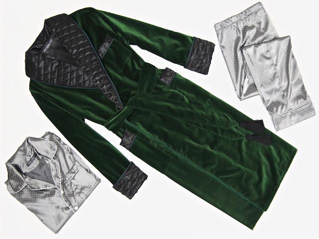 Mens green velvet smoking jacket quilted silk dressing gown robe