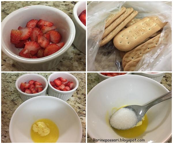 crumble de morangos fácil