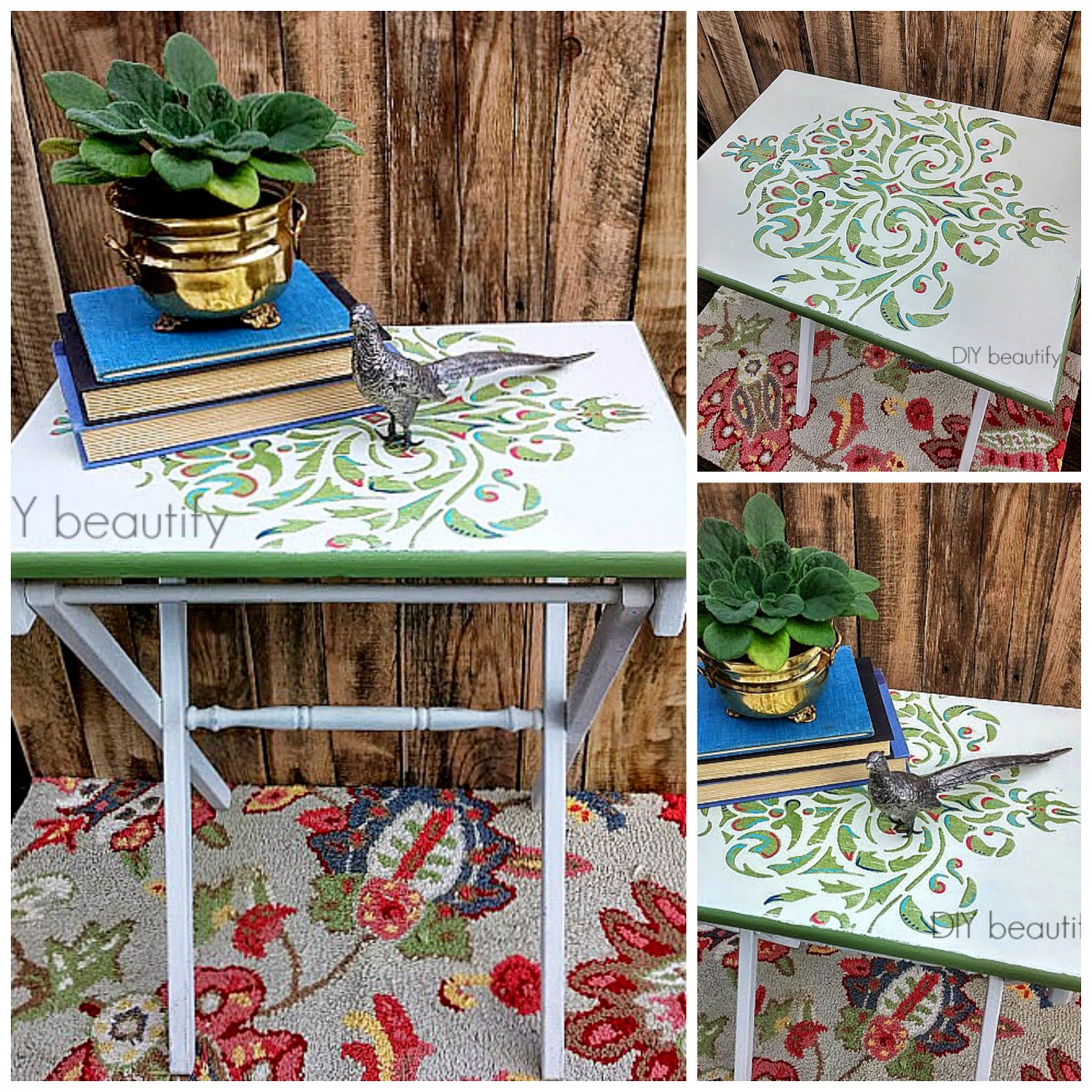 How to stencil a table top www.diybeautify.com