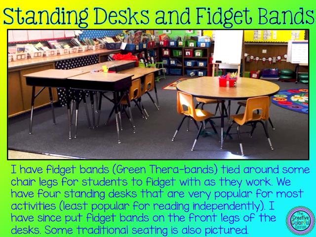 Standing desks and fidget bands: I have fidget bands (green thera-bands) tied around some chair legs for students to fidget with as they work. We have four standing desks that are very popular for most activities (least popular for reading independently). I have since put fidget bands on the front legs of the desks. Some traditional seating is also pictured.