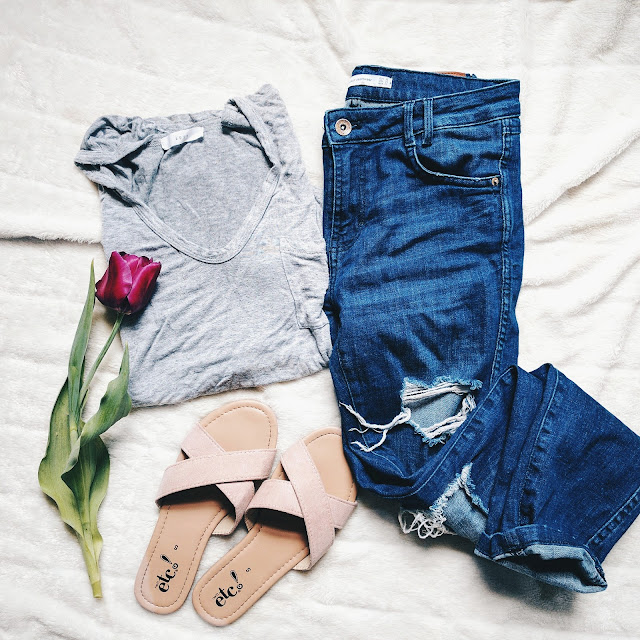 ripped denim jeans zara lush grey tee purple tulips flatlay