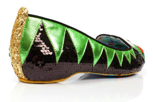 back angle of Irregular Choice Disney Kermit The Frog shoes in black sequins and green metallic with gold glitter