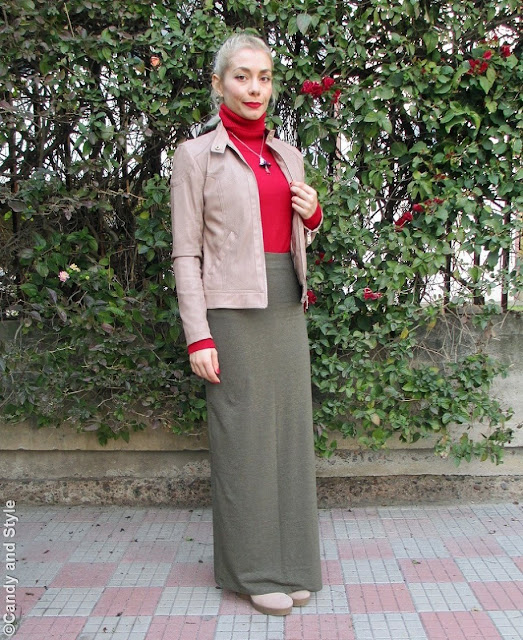 Khaki and Red