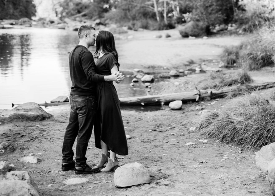 Black and White Engagement Photography by Snoqualmie Wedding Photographer Something Minted