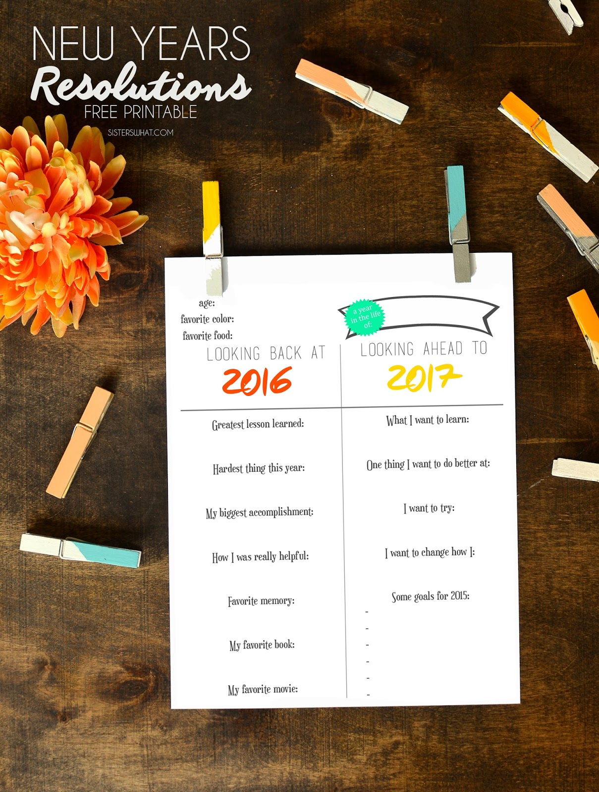 New Year Resolution Free Printable